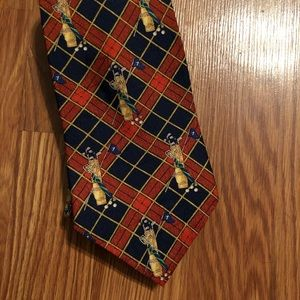 Vintage Tommy Hilfiger Red Plaid Gold Necktie